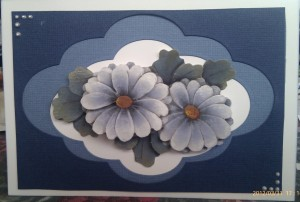 Paper Tole Card Flowers Blue  12