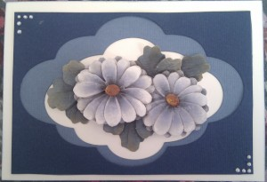 Paper Tole Card Flowers Blue  7