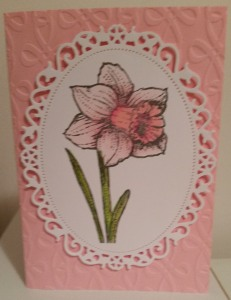 Flourishes Signs of Spring, Spellbinders Floral Oval, Couture Creations Washed Away