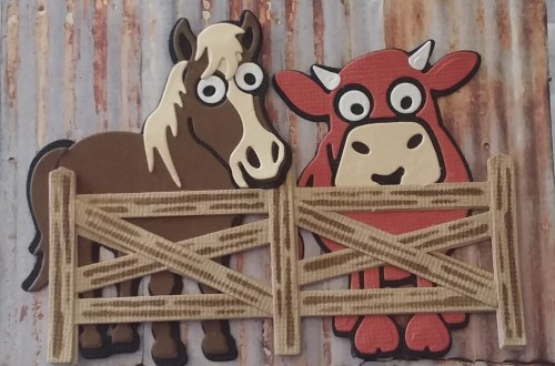 Elizabeth Craft Karen Burniston Brownie the Cow Cocoa the Horse Fence Post Stand